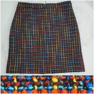 Kate Spade Red Blue Lined Tweed Pencil Skirt Sz 10